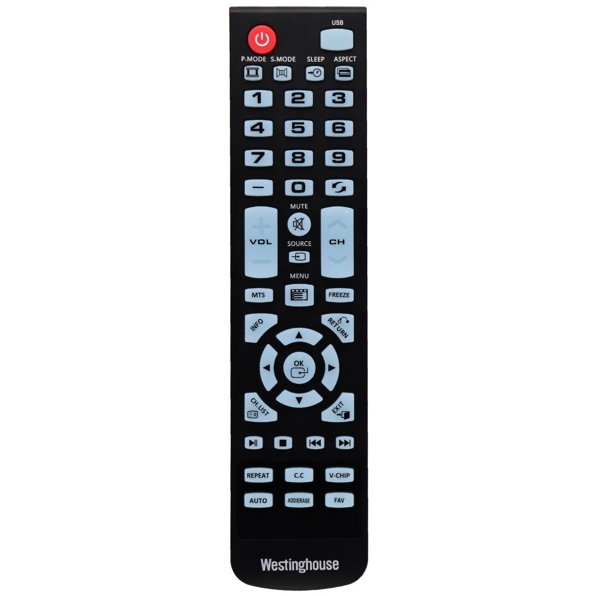 OEM Remote - Westinghouse WS-1688 for Select Westinghouse TVs - Black