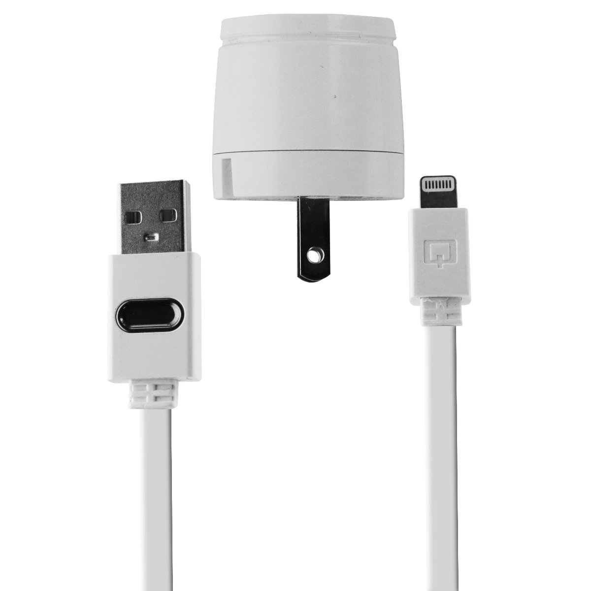Original Qmadix USB Travel Data Sync Charging Kit with Lightning Cable - White