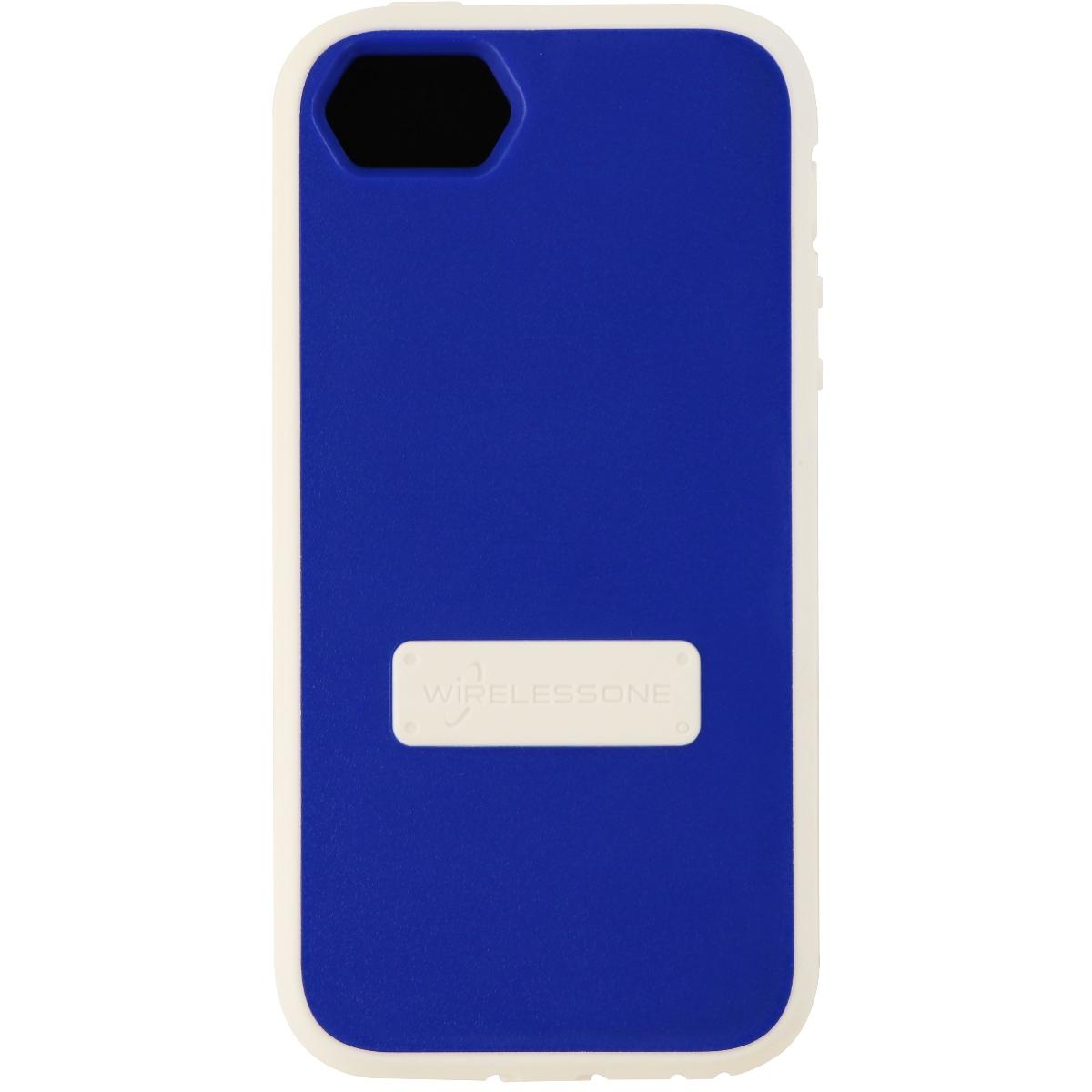 WirelessOne Contour Series Protective Case Cover for iPhone SE 5S 5 - Blue White