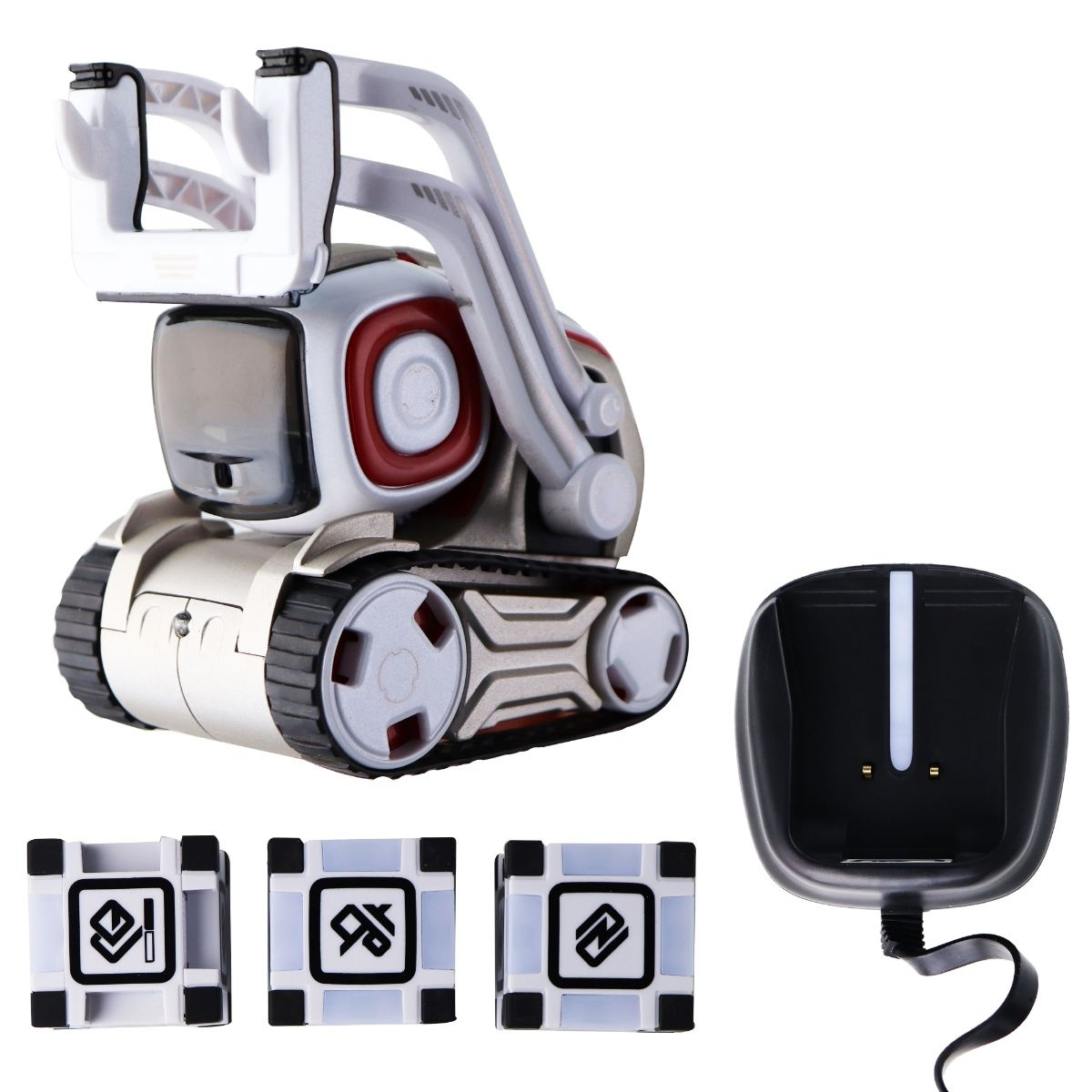 Anki Cozmo Robot Toy with 3 Power Cubes and AC Adapter - White / Silver / Red