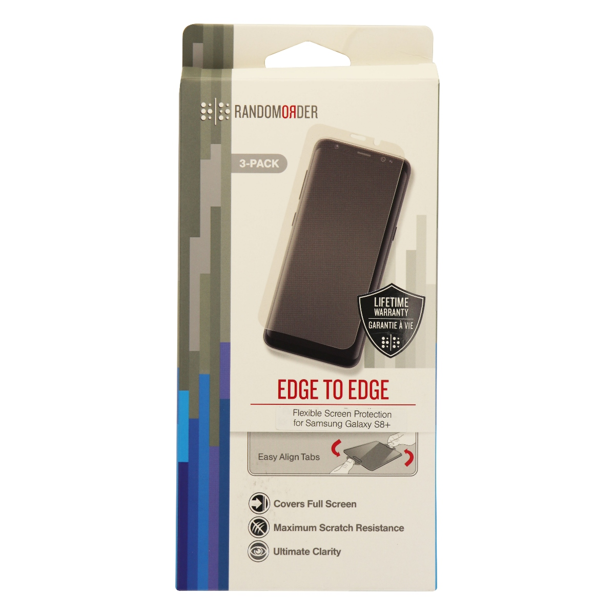 Random Order Edge to Edge Screen Protector for Galaxy S8+ - Clear 3 Pack
