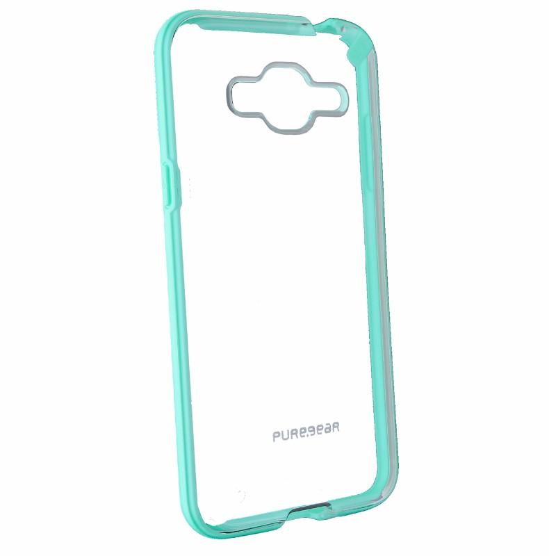 PureGear Slim shell Series Hybrid Slim Case for Samsung Galaxy J3 - Clear / Teal