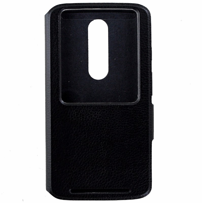 Motorola Flip Case Protective Cover for Motorola DROID Turbo 2  - Black Leather