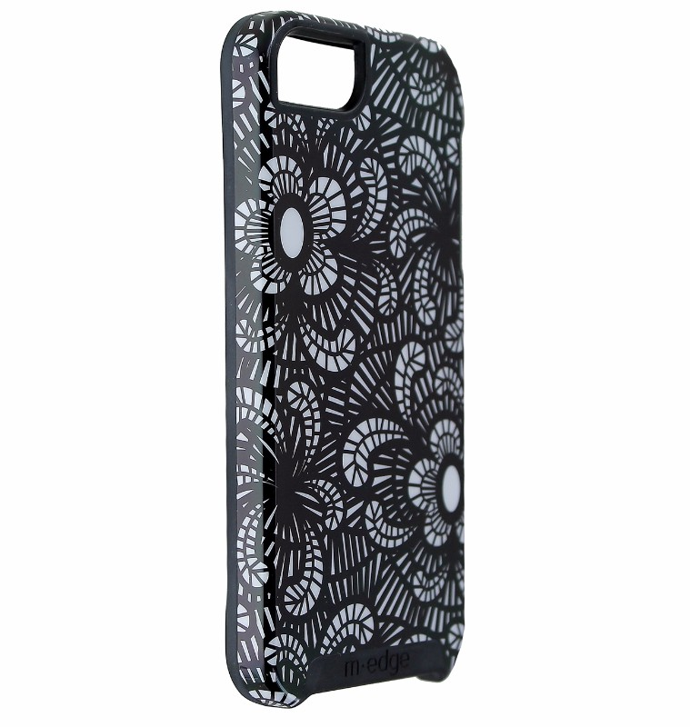 M-Edge Echo Series Hard Case Cover for iPhone 5/5s/SE - Black / White Flowers