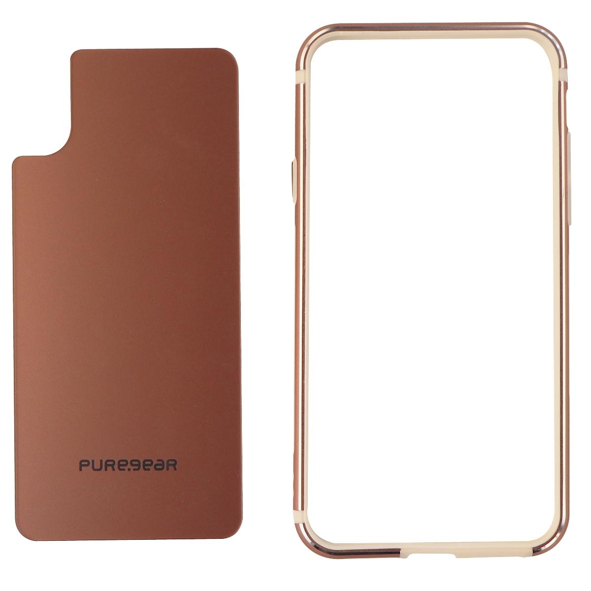 PureGear GlassBak 360 Metal Bumper and Glass Back for iPhone X 10 Pink Rose Gold
