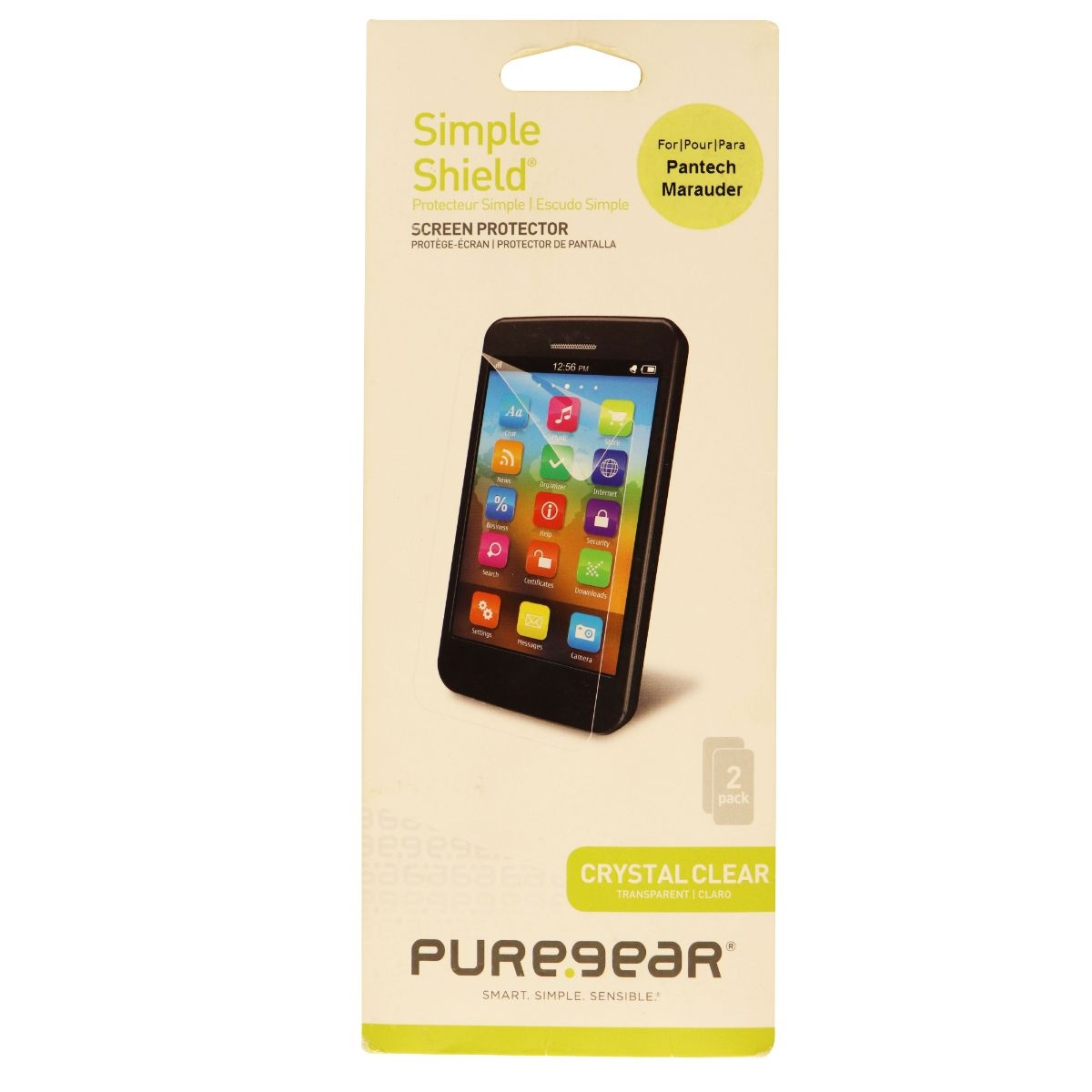 PureGear Simple Shield Crystal Screen Protector for Pantech Marauder 2 Pack