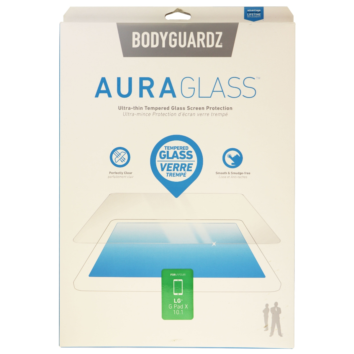BodyGuardz Aura Glass Tempered Glass Screen Protector for LG G Pad X 10.1 Clear