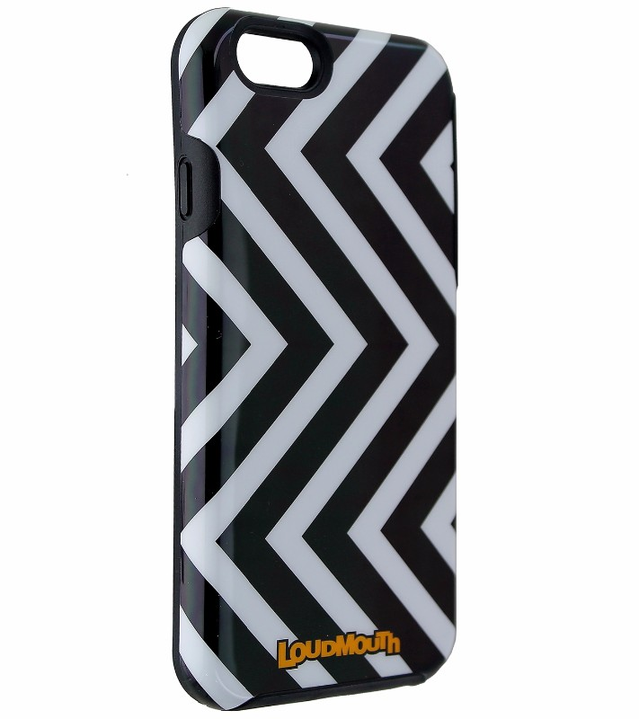 M-Edge Loudmouth Protective Case Cover for iPhone 6s 6 - Black / White Zigzag