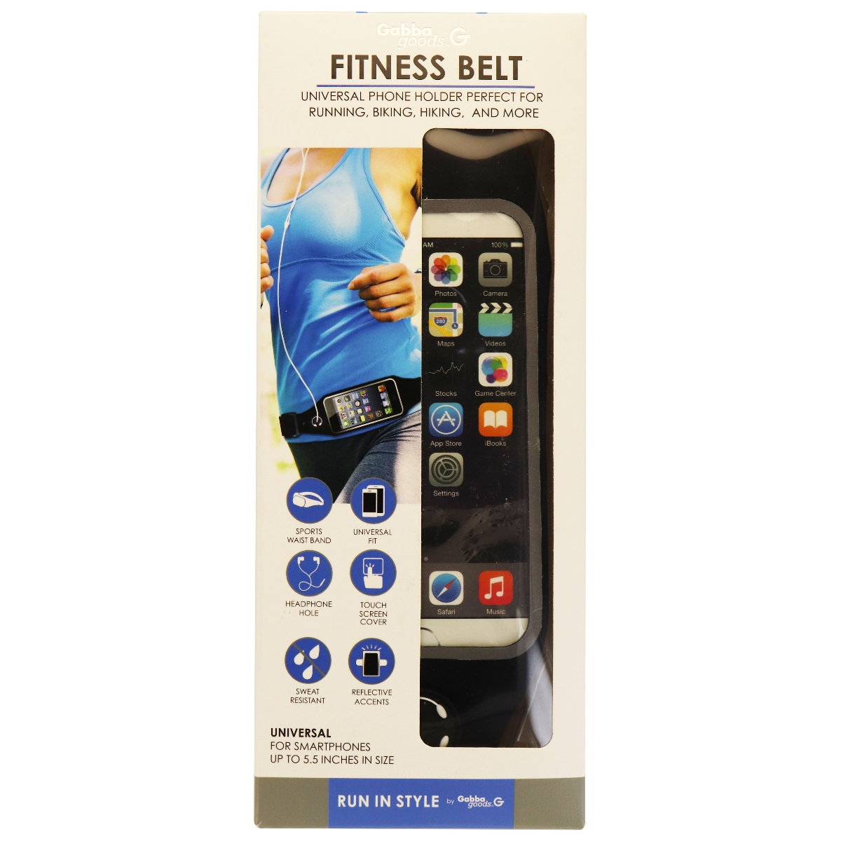 Gabba Goods G Fitness Belt Case Waist Band for Smartphones up to 5.5in - Black