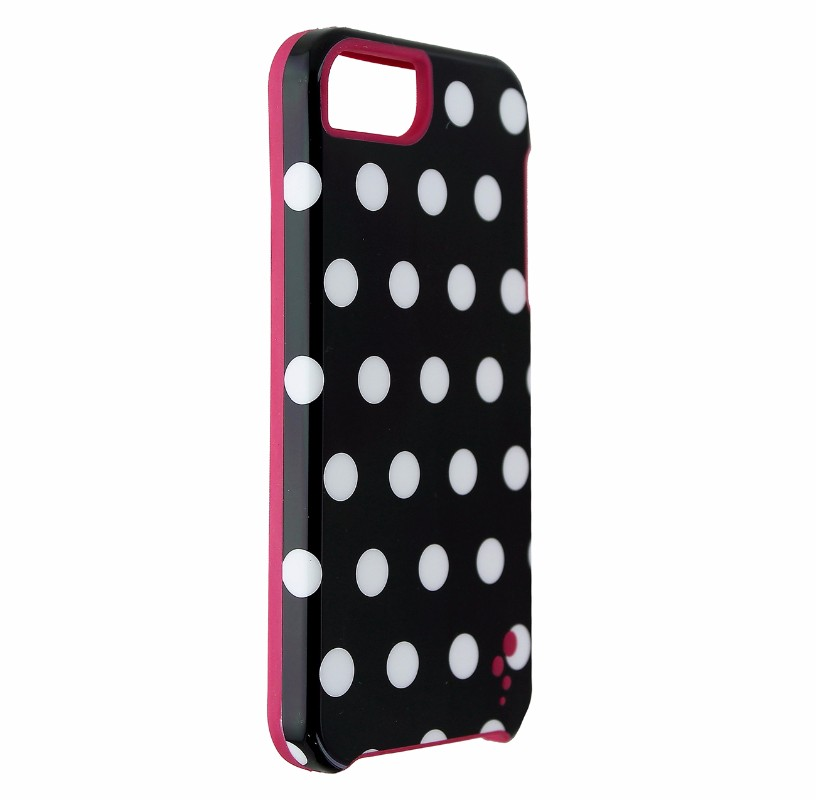 M-Edge Echo Series Case Cover for iPhone 5 5s SE - Blk Wht Polka Dot / Pink