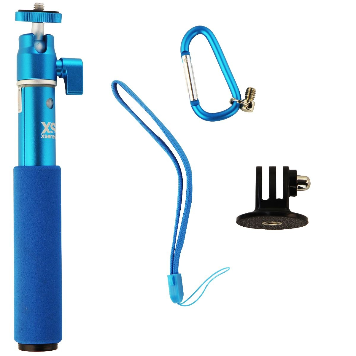 XSories U-Shot 19-in Telescopic Pole w/ 1/4-inch Mount and GoPro Adapter - Blue