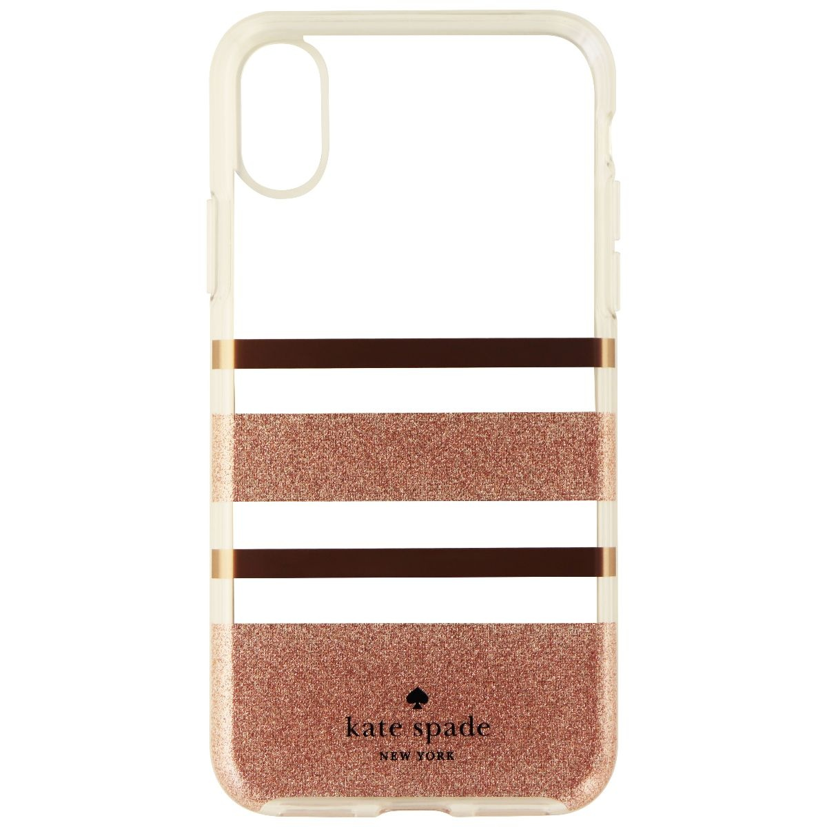 Kate Spade Flexible Hard Case for iPhone X 10 - Clear/Rose Gold/Glitter Stripe