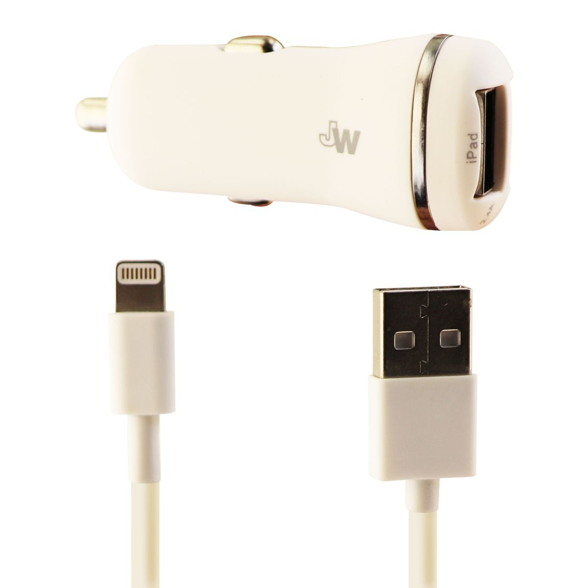 Just Wireless Dual USB Car Charger Adapter and 5 ft Lightning-USB Cable - White