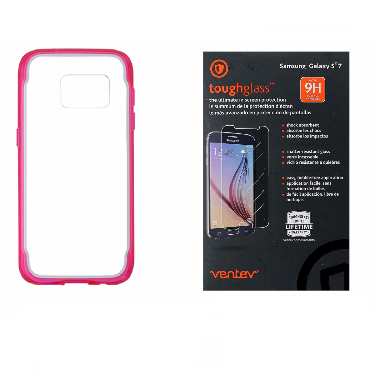 Griffin Clear/Pink Case + Ventev Glass Screen Protector for Samsung Galaxy S7