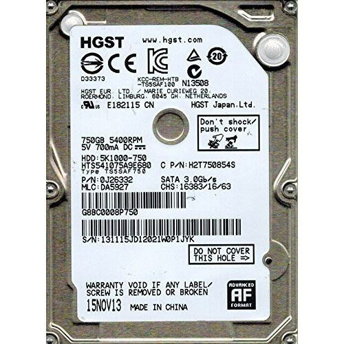 HGST 5K1000 HTS541075A9E680 - Internal Hard Drive - 750 GB - SATA 3Gb/s