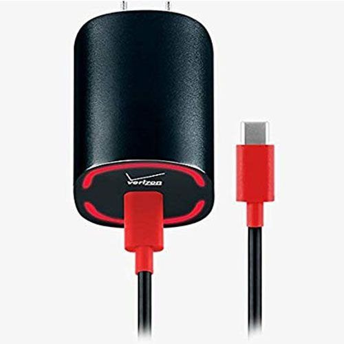 Verizon USB-C Wall Charger w/ 6ft USB-C to USB-C Cable - 2 Pack - Black / Red