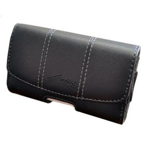 Verizon Universal Leather Pouch with Rotating Clip - Black (UNIPDASDPCH3)
