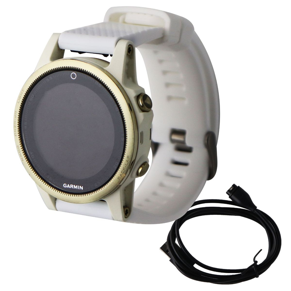 Garmin Fenix 5S Sapphire GPS Smartwatch - Champagne/White with White Band