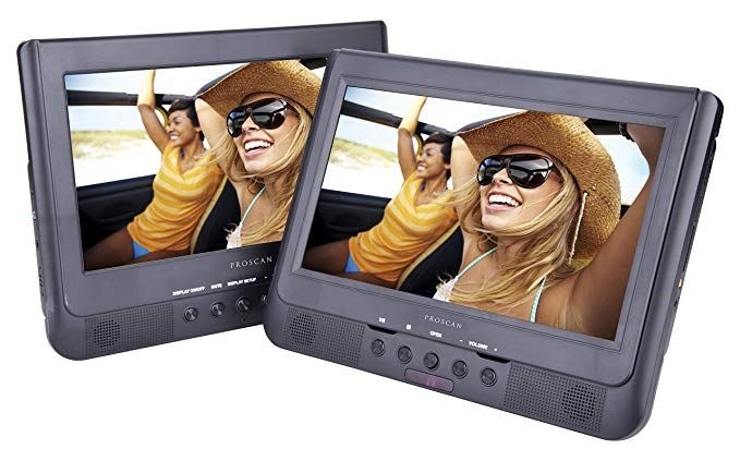 Sylvania 10-Inch Dual Screen Portable DVD Player with Remote Control - SDVD1037