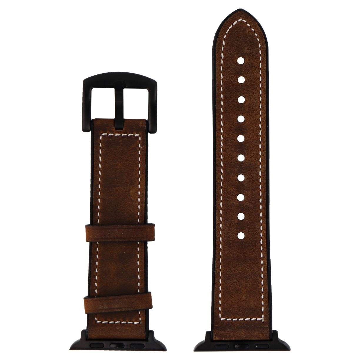 NEXT - Hybrid Leather / Silicone Watch Strap for Apple Watch 42mm + 44mm - Brown