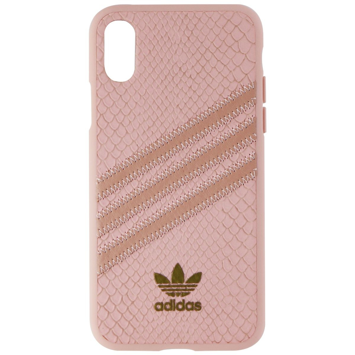 Adidas 3-Stripes Snap Case for Apple iPhone XS and X - Pink Snake / Gold