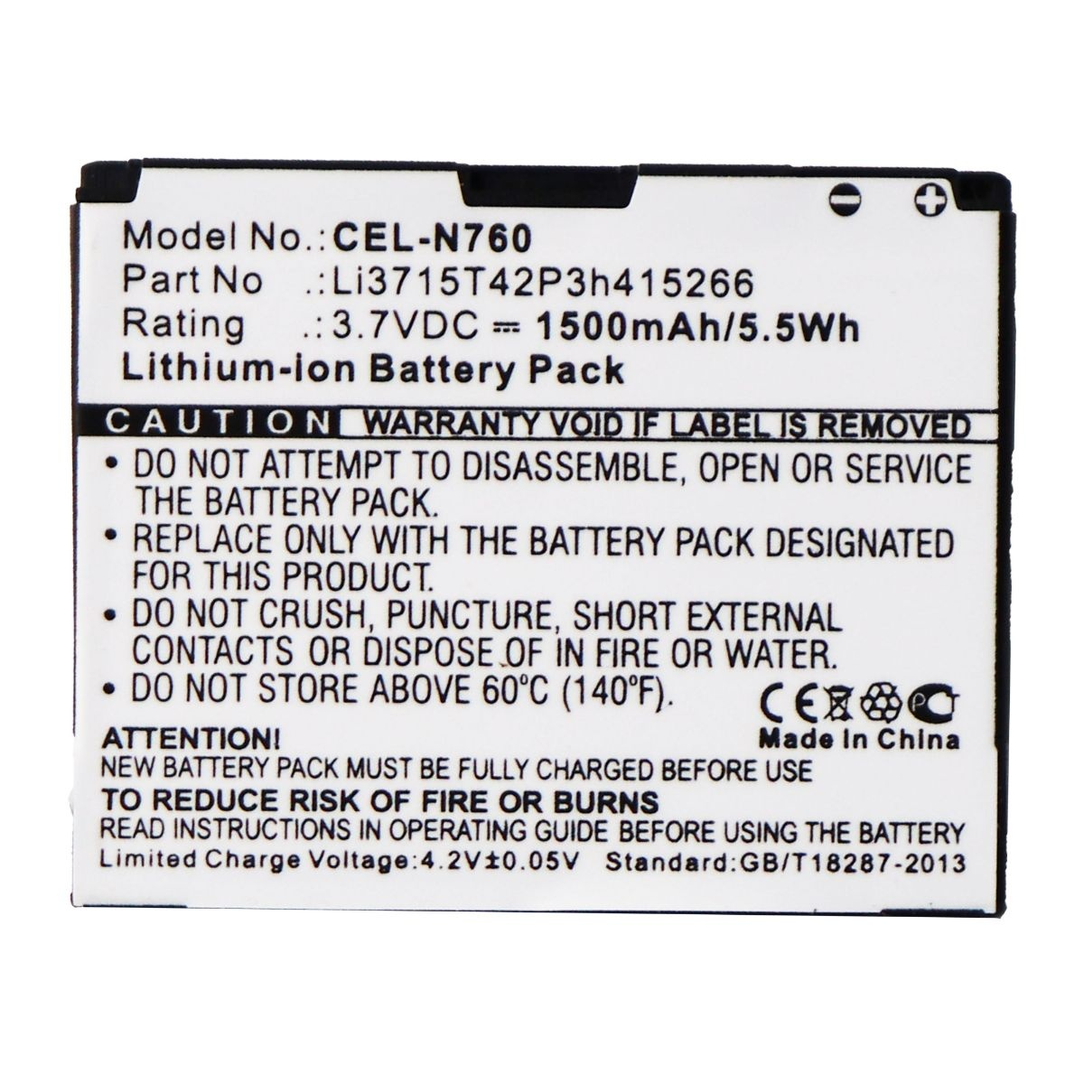 UltraLast Rechargeable Battery for Select ZTE Smartphones - CEL-N760