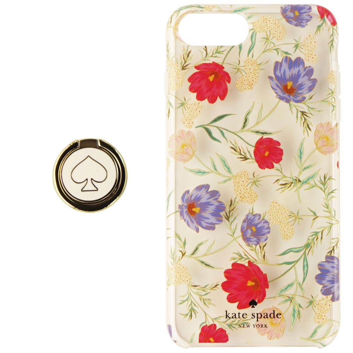 Kate Spade Case w/ Ring Stand for iPhone 8 Plus/7 Plus/6s Plus - Clear / Flowers