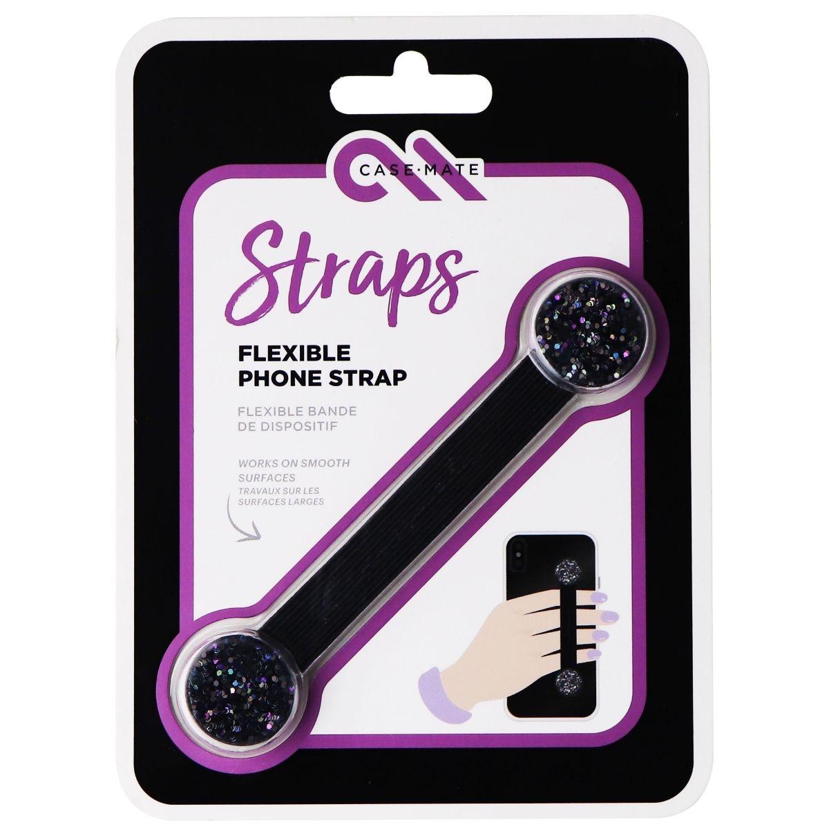 Case-Mate Straps Series Flexible Adhesive Phone Strap - Black Glitter