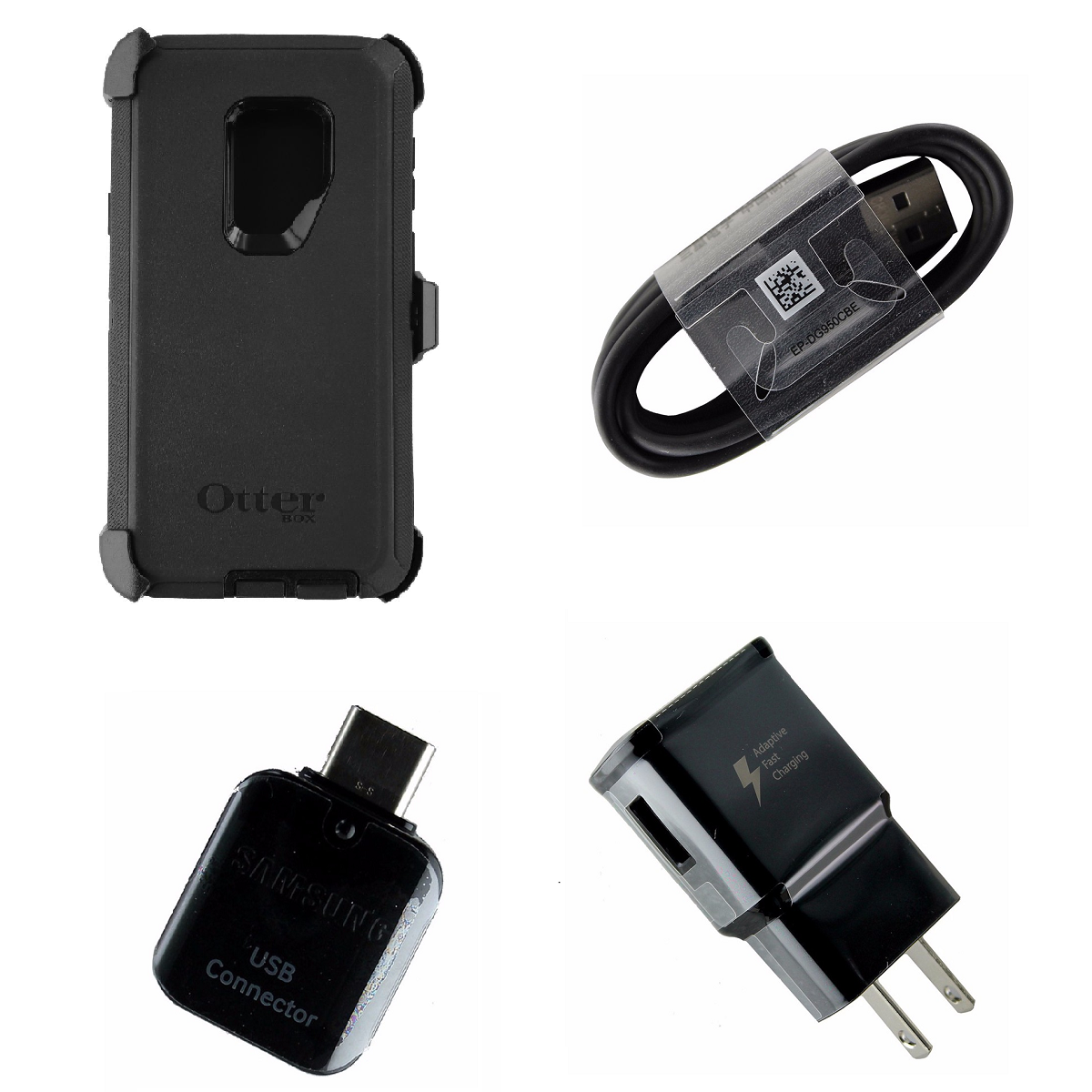 OEM Adapter + Charger KIT w/ OtterBox Black Defender Case for Samsung Galaxy S9+