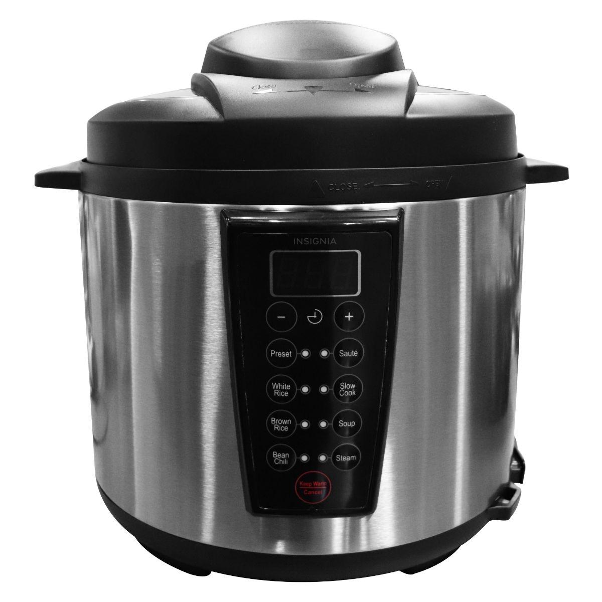Insignia - 6-Quart Pressure Cooker - Stainless Steel/Black