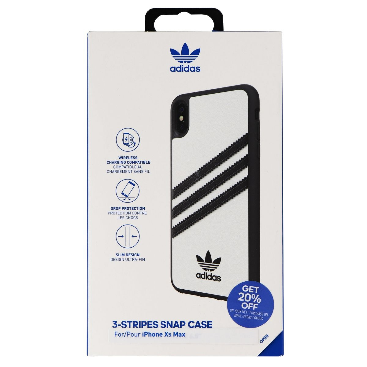 Adidas 3-Stripes Snap Case for Apple iPhone XS Max - White w/ Black Stipes