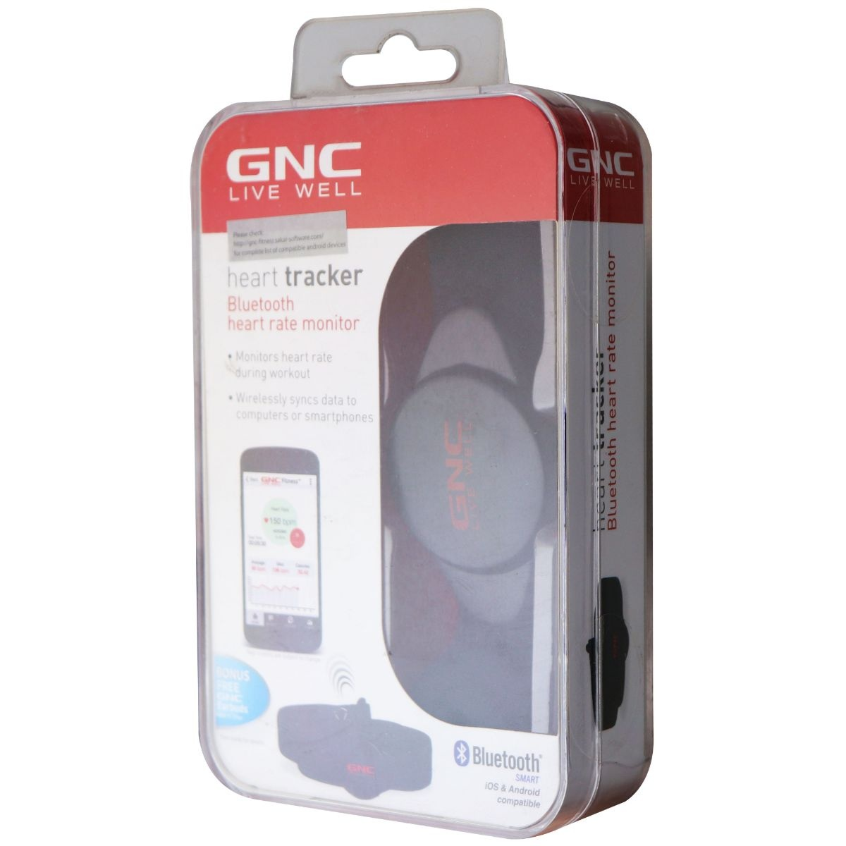 GNC Bluetooth Heart Rate Monitor with Strap - Black (Model: GNC GB-8561)
