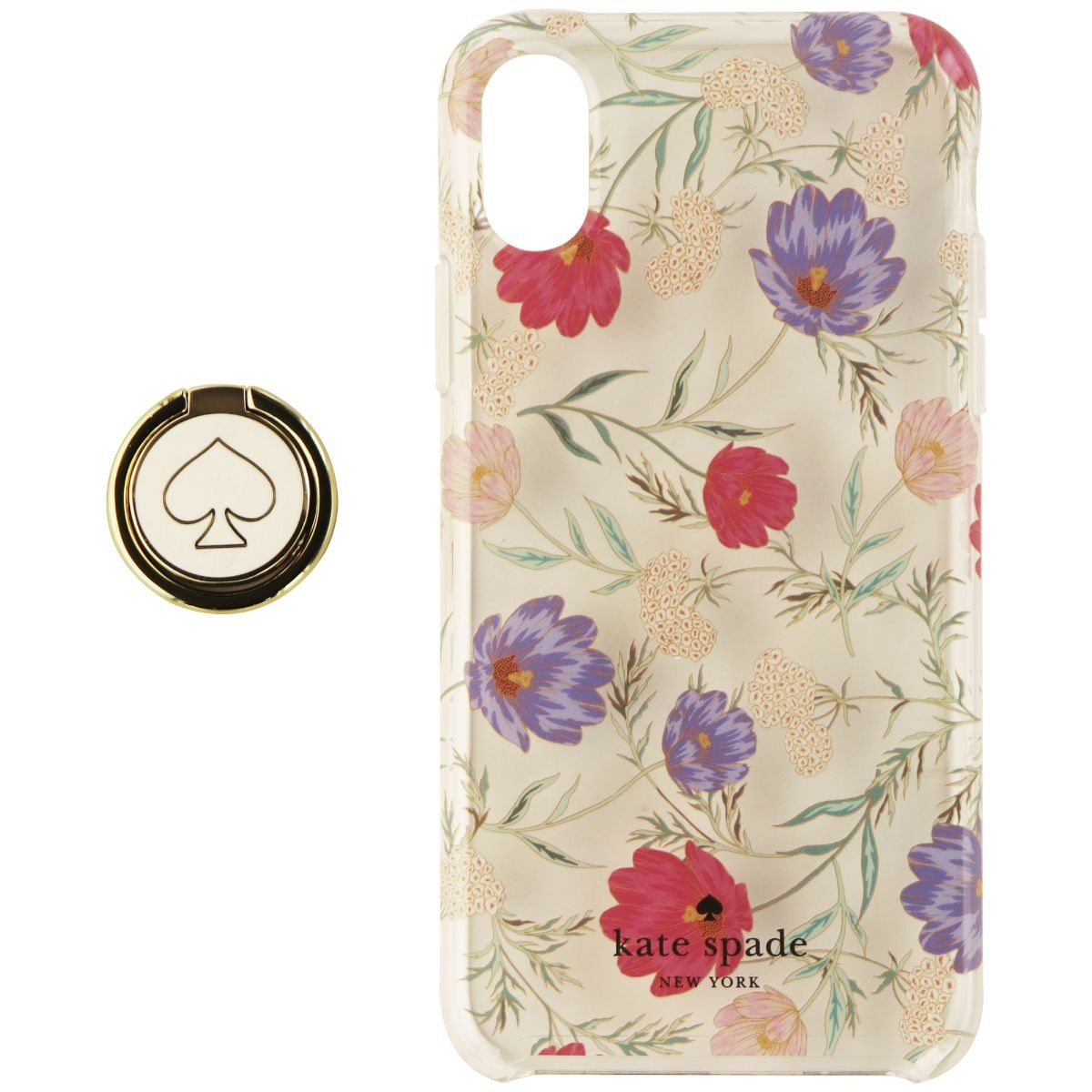 Kate Spade Hardshell Case & Ring Stand for Apple iPhone X - Clear / Flowers