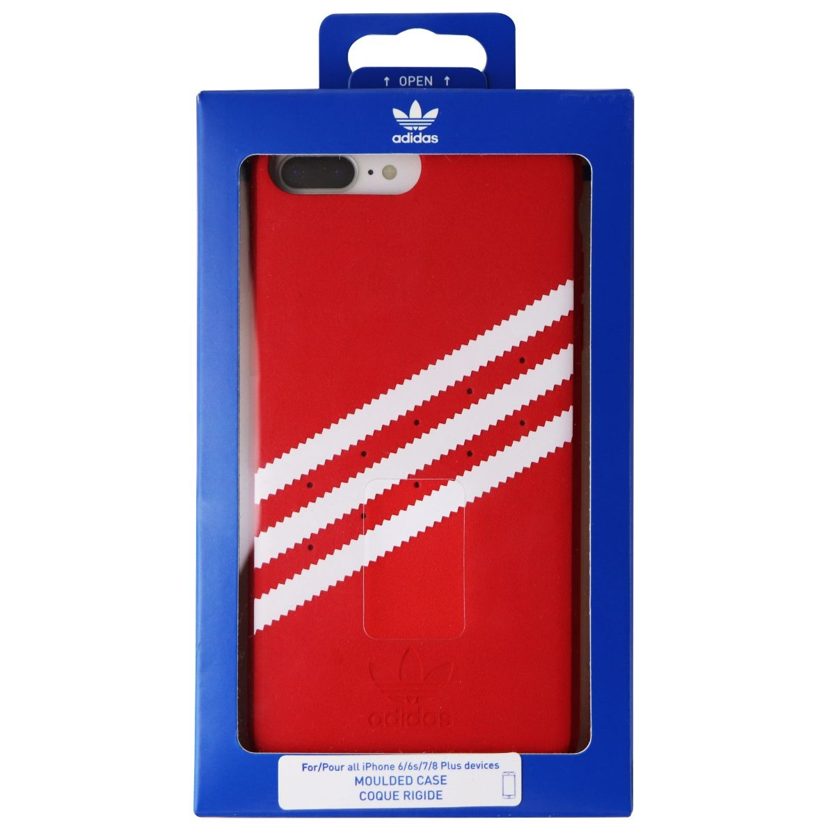 Adidas Moulded Suede Case for Apple iPhone 8 Plus/7 Plus - Red/White Stripes