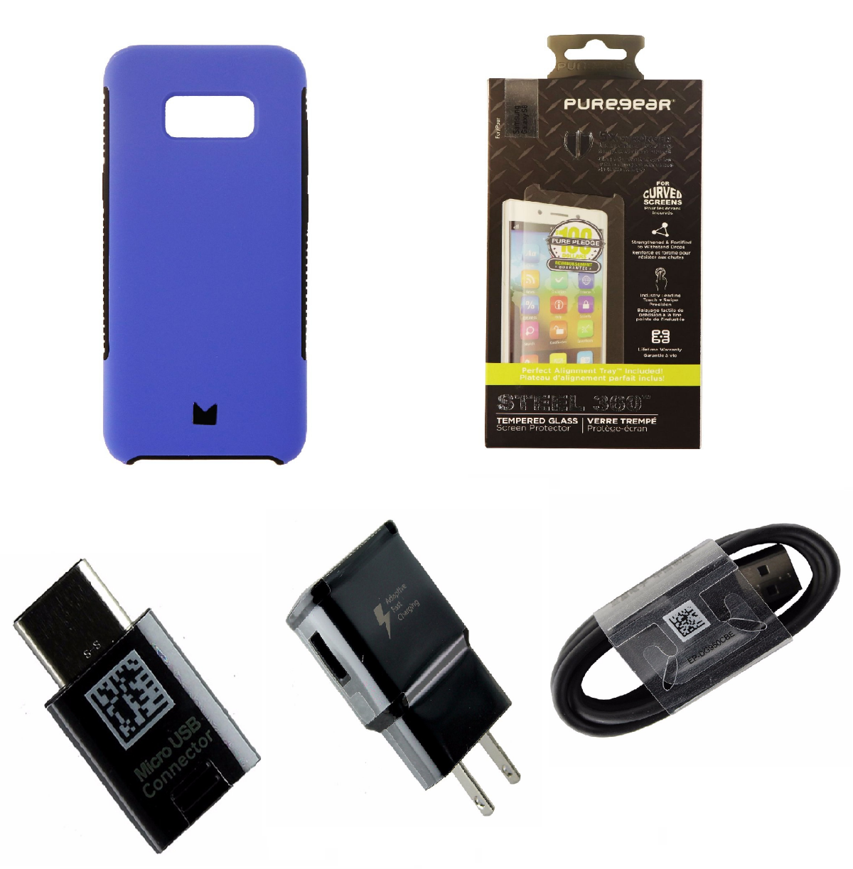 Samsung Galaxy S8 Accessory Kit with Case, Screen Protector, and Charging Kit