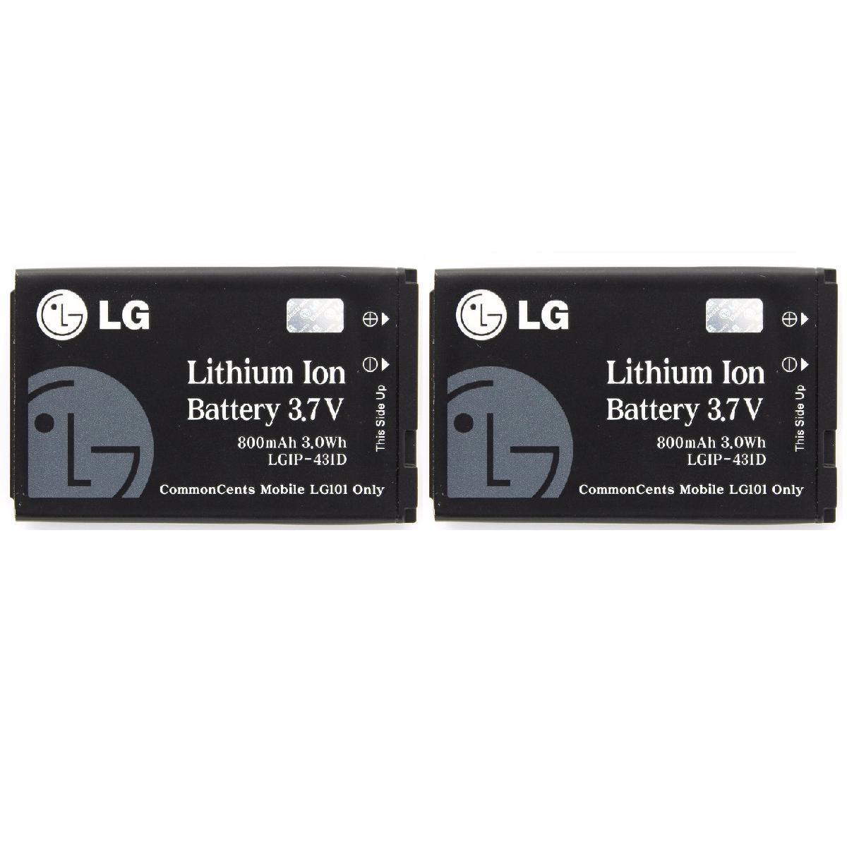 KIT 2x LG LGIP-431D 800 mAh Replacement Battery for LG 101 102