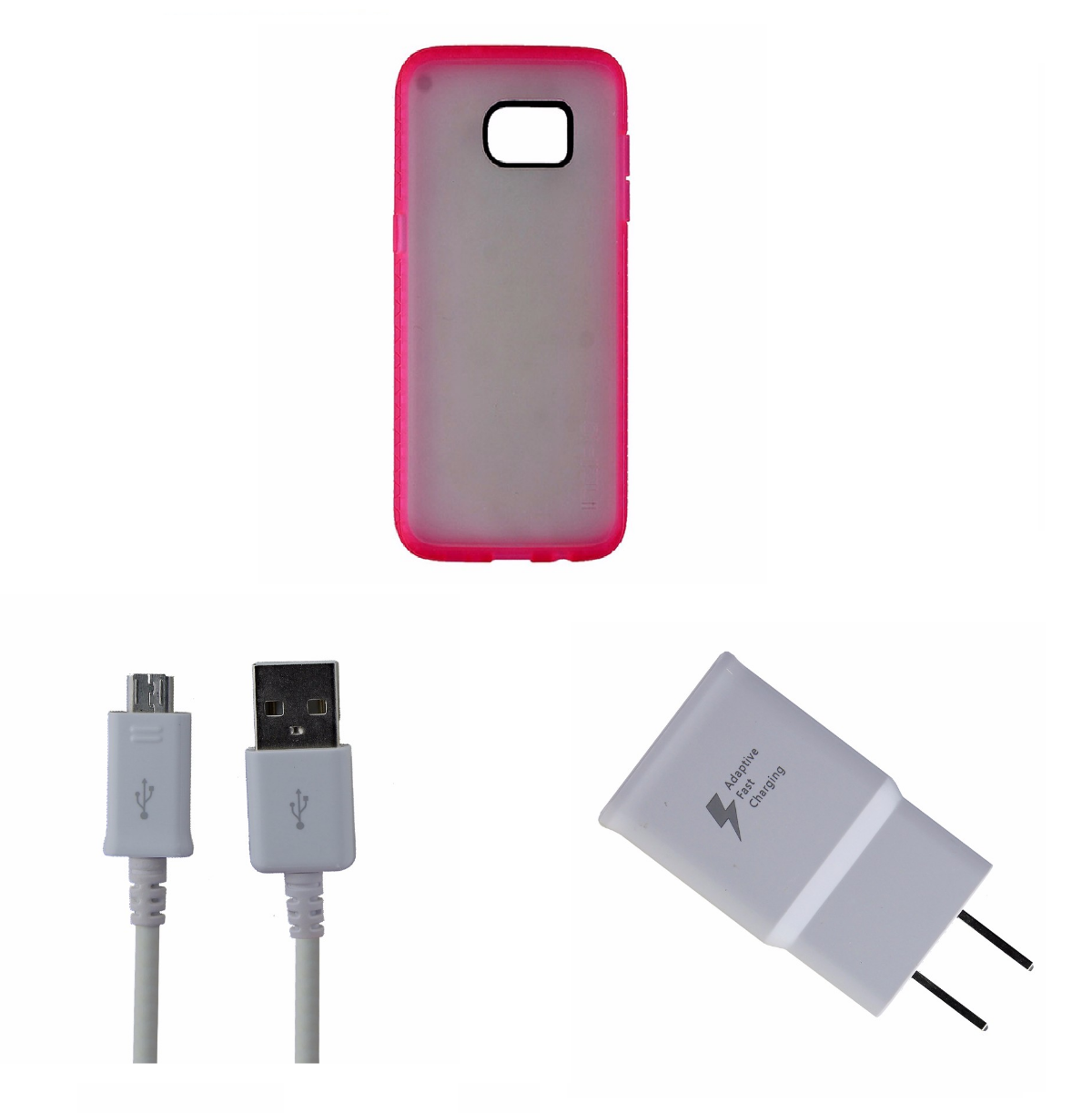 OEM Samsung Cable and Adapter KIT with Incipio Octane S7 Edge Frost/Pink Case