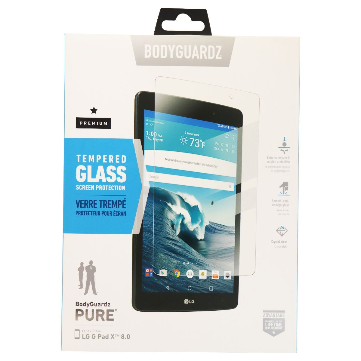 BodyGuardz Pure Series Premium Tempered Glass for LG G Pad X 8.0 - Clear