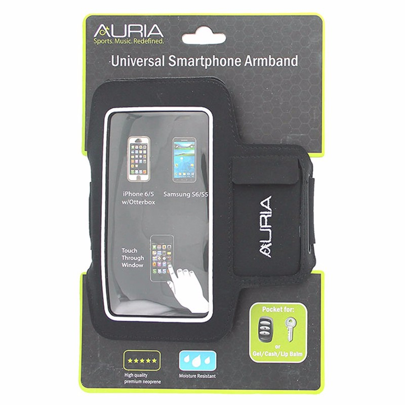 Auria Universal Smartphone Armband w/ Cash and Key Holder Black