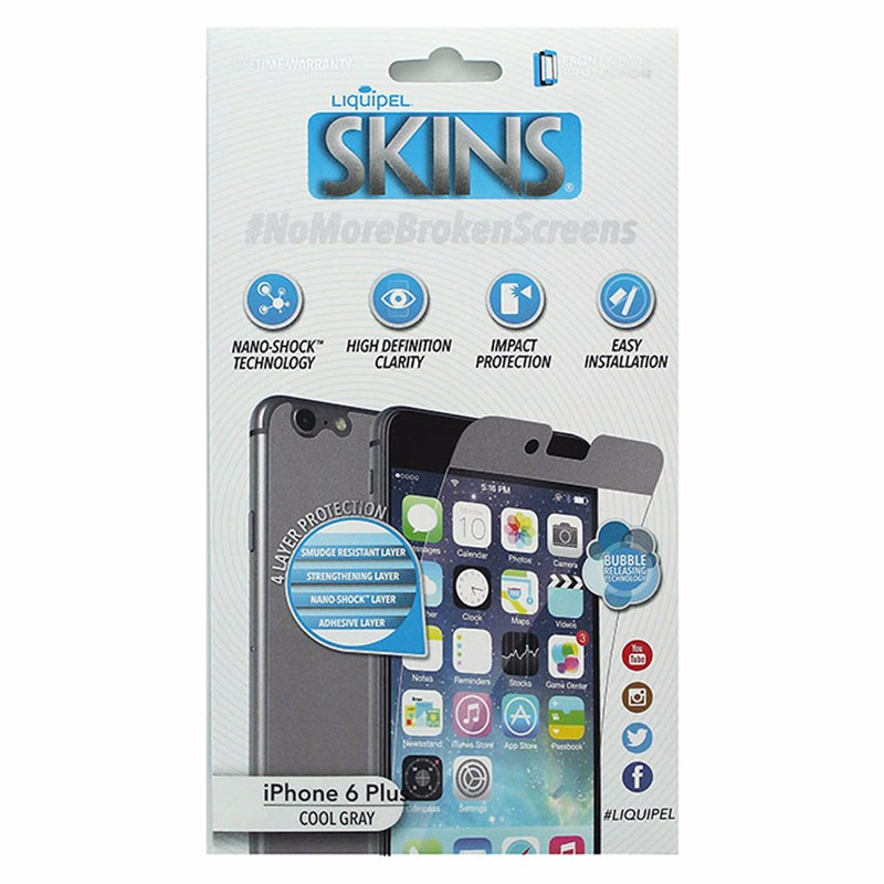 Liquipel Skins Front & Back Screen Protector for iPhone 6S Plus / 6 Plus - Gray