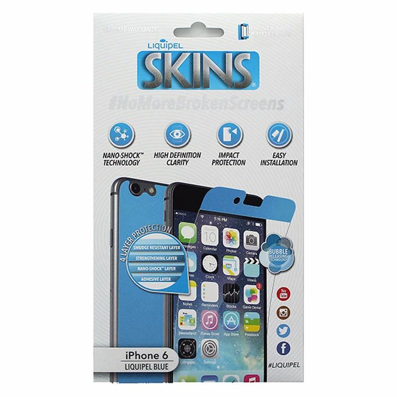 Liquipel Skins Full Body Screen Protector for iPhone 6 / 6S - Blue Border