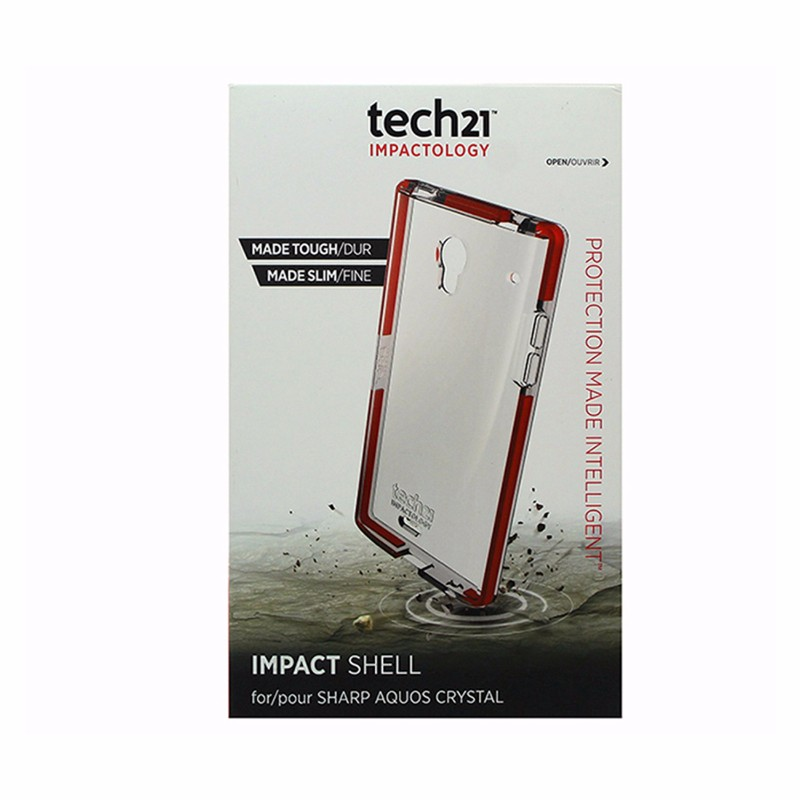 tech21 Impact Shell Case for Sharp Aquos Crystal Clear w/ Orange Trim