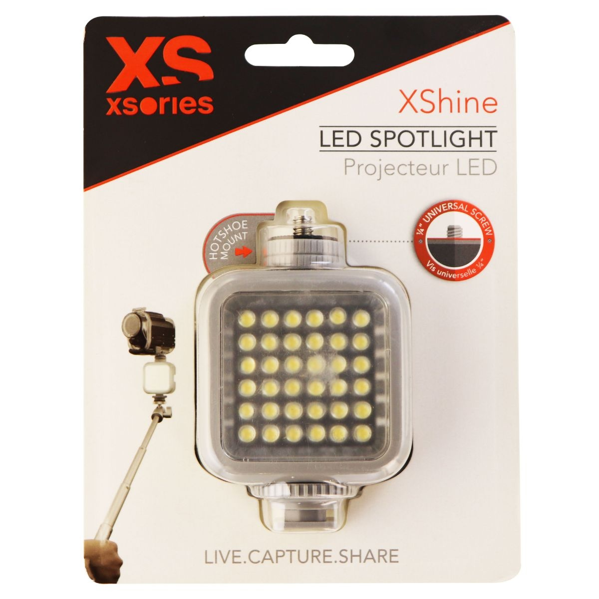 XSories XShine LED Spotlight with 1/4in Mounts and Rechargeable Battery - Gray