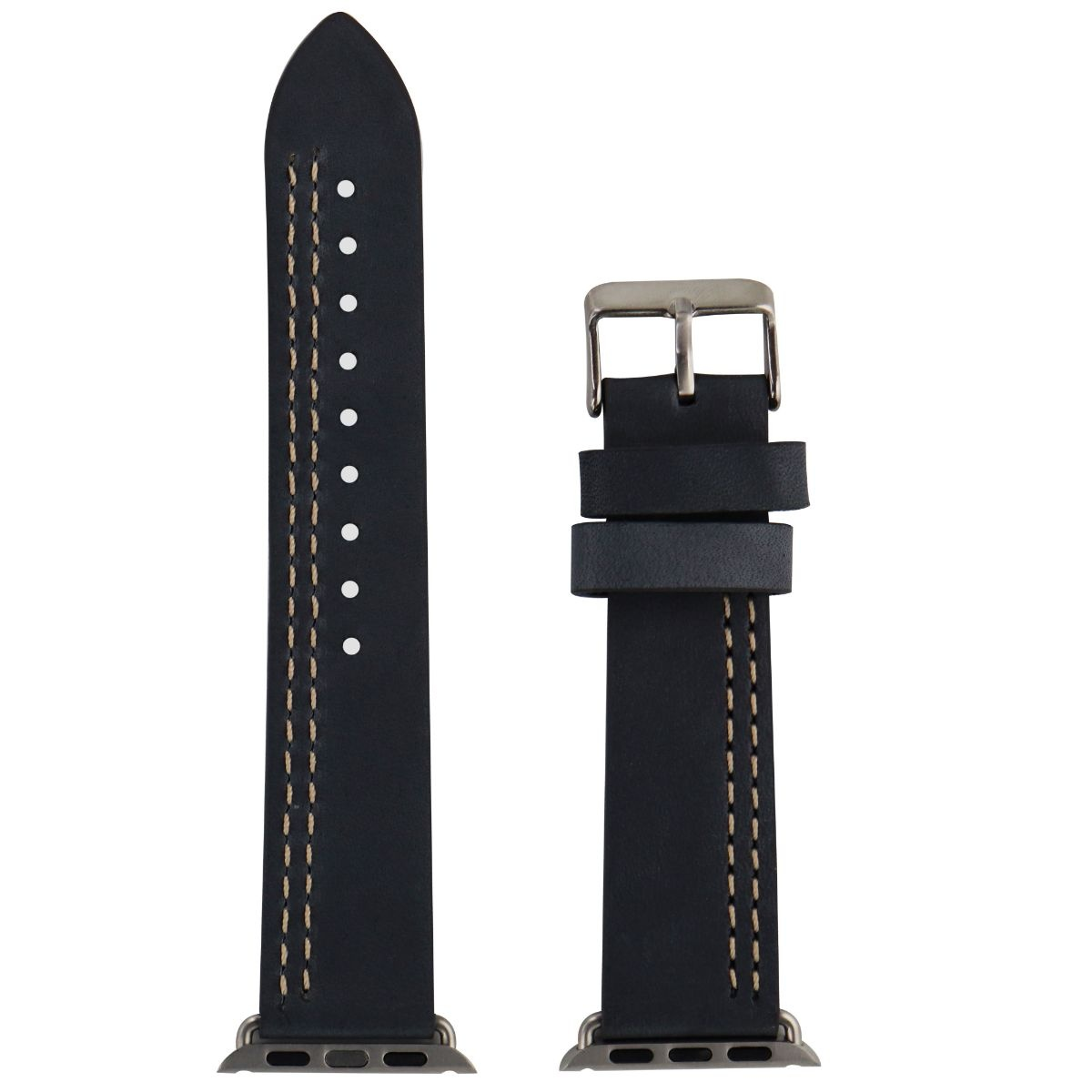 iGear Leather Watch strap for 38mm Apple Watch - Slate Leather / Silver buckle