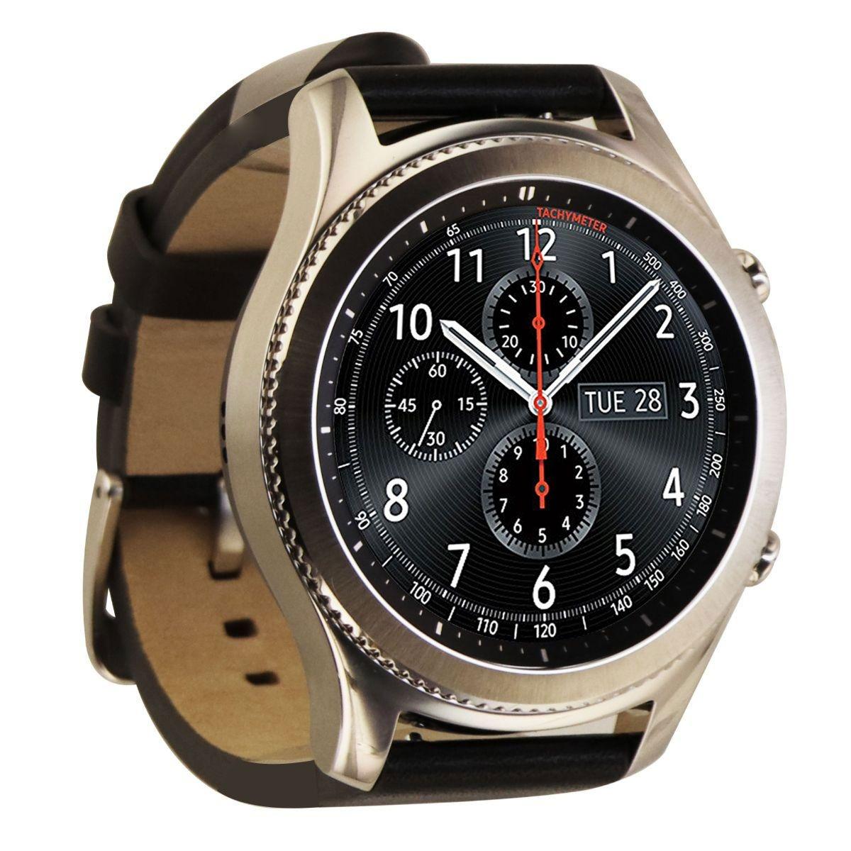 Samsung Gear S3 Classic Smartwatch SM-R775V Unlocked -Silver w/ BLK Leather Band