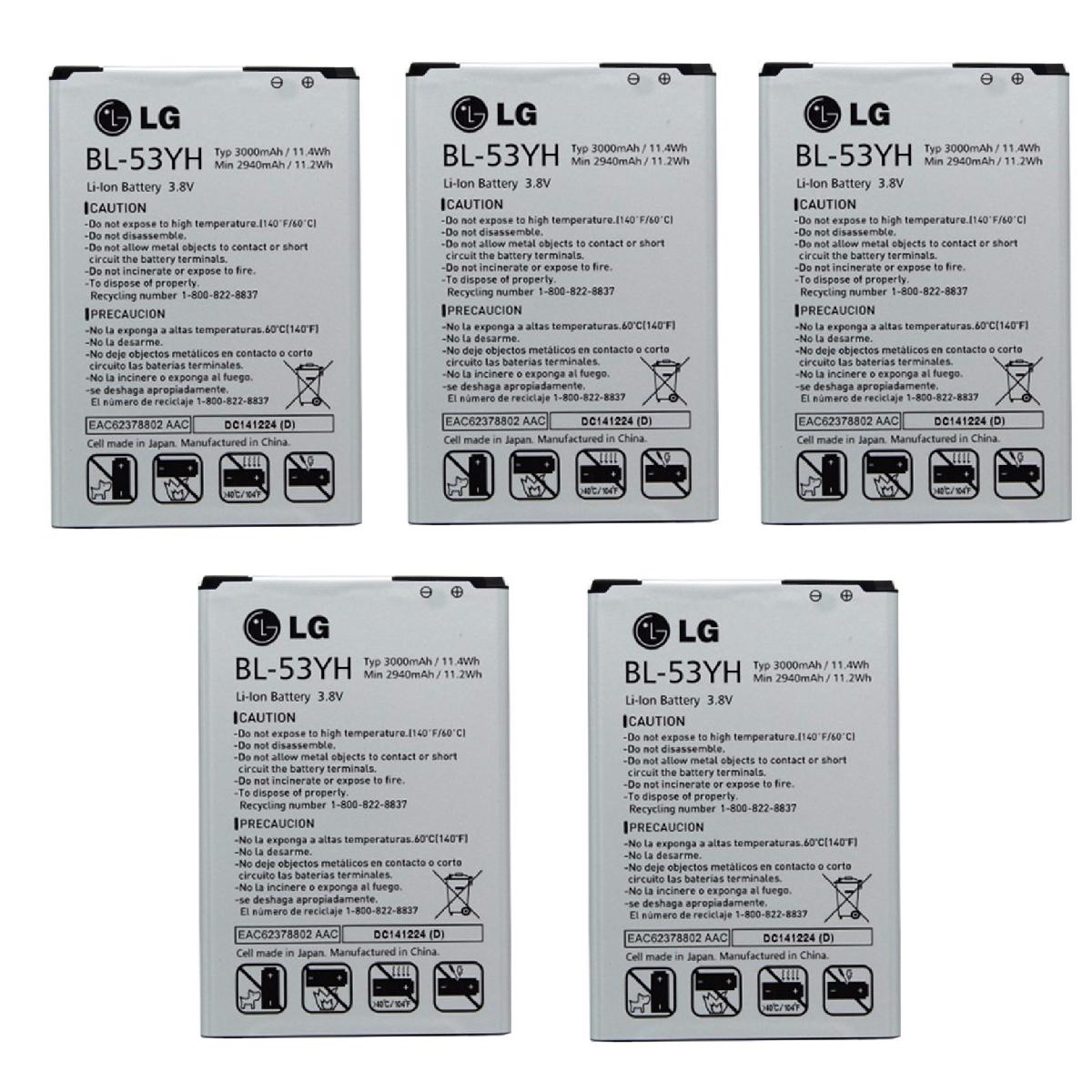 KIT 5x LG BL-53YH Battery for G3 VS985 F400 D850 D855 3000mAh