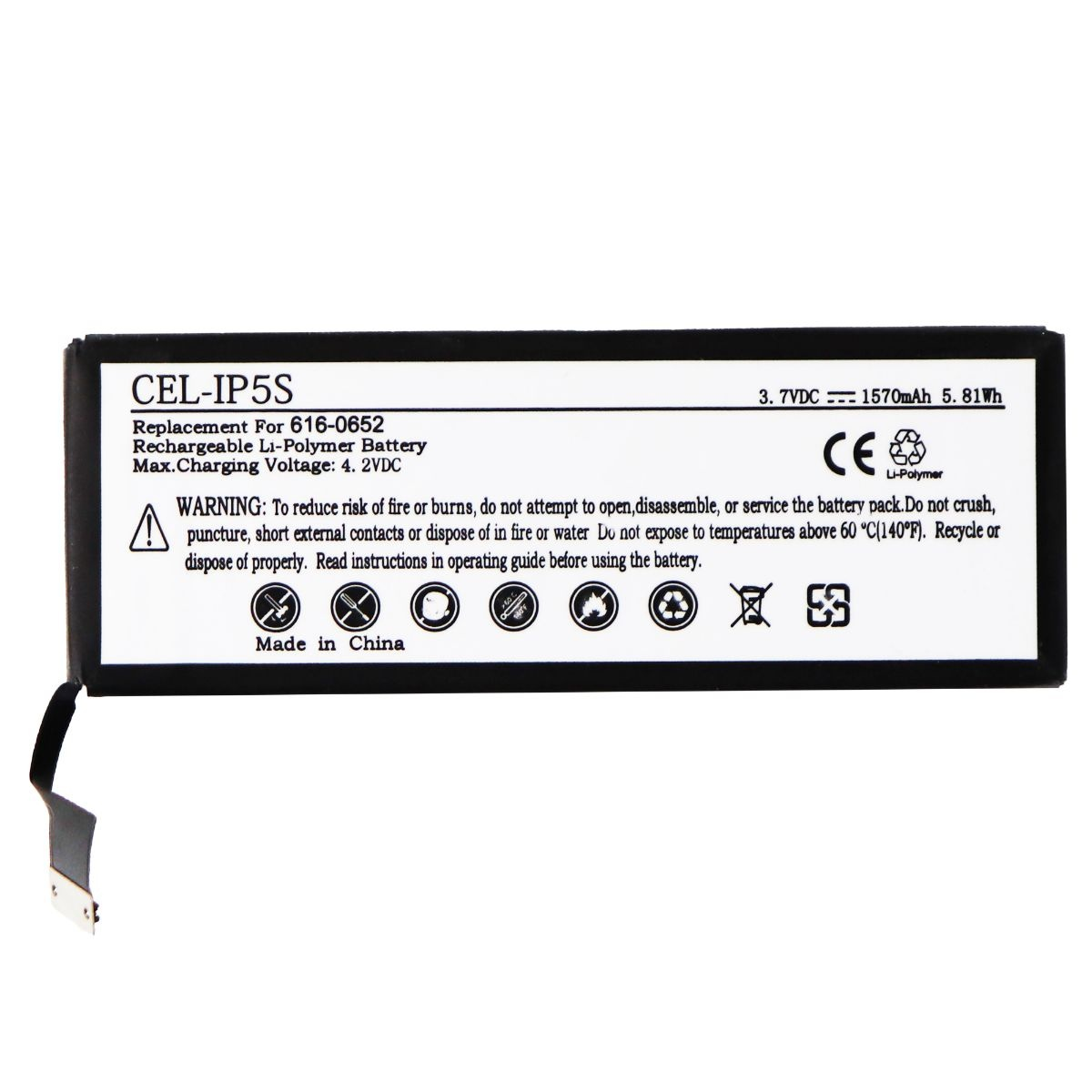 UltraLast Rechargeable Battery for Apple iPhone 5S - CEL-IP5S